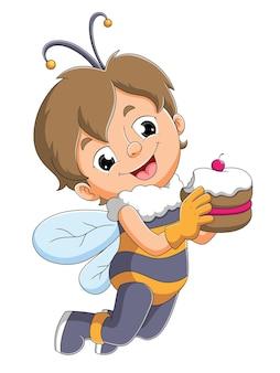 O menino com a fantasia de abelha segurando um bolo de ilustração