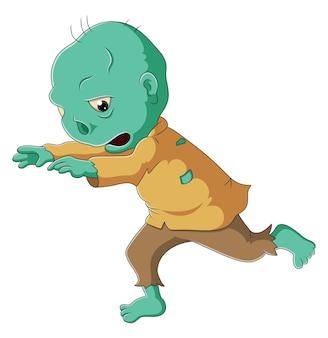 O menino com a fantasia de alienígena está caminhando para assustar as pessoas da ilustração