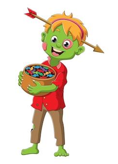 O menino com a fantasia de zumbi e a flecha perfurando a cabeça da ilustração