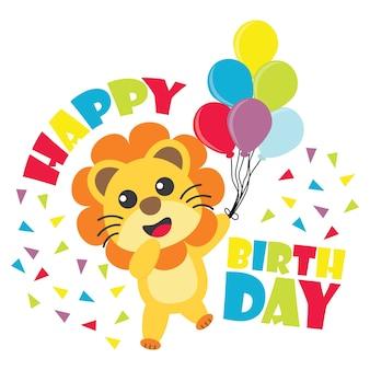 O menino do leão traz balões coloridos para o cartão de aniversário do miúdo