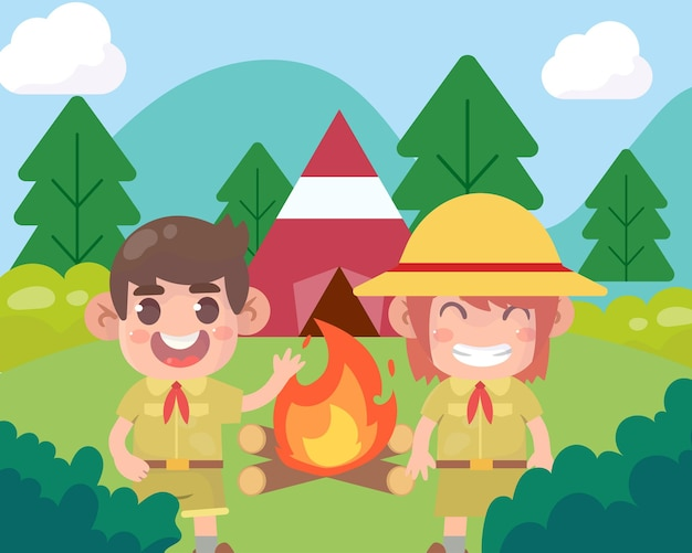 O menino e a escuteira fofos caminham na floresta. as crianças têm uma aventura de verão ao ar livre