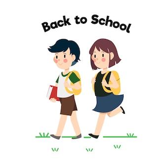 O menino e a menina andando para a escola.