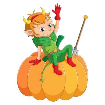 O menino elfo está acenando e sentado na abóbora da ilustração