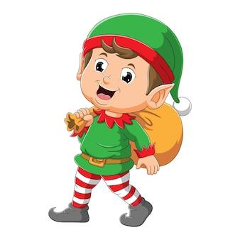 O menino elfo está segurando um saco de presente de ilustração