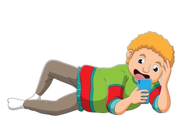 O menino está brincando de celular de ilustração
