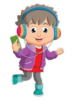 O menino está ouvindo a música com o fone de ouvido da ilustração
