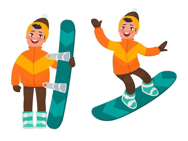 O menino está praticando snowboard