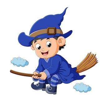 O menino feiticeiro está sentado na vassoura mágica da ilustração