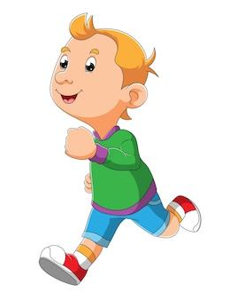 O menino legal está correndo com a cara feliz da ilustração