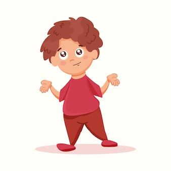 O menino mostra com as mãos o gesto que não conheço. ilustração vetorial em estilo simples