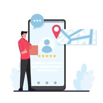 O mensageiro carrega o pacote ao lado da tela do celular com uma revisão.