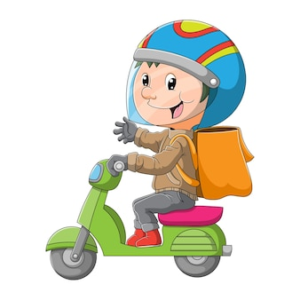 O mensageiro está dirigindo a motocicleta para entregar os produtos da ilustração
