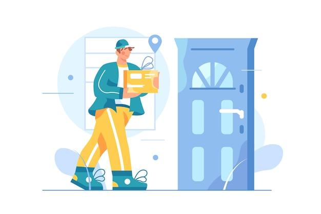 O mensageiro masculino entrega mercadorias na porta de casa