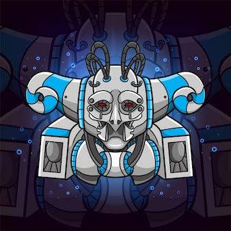 O metal blue steam punk para mascote esport inspirado na ilustração