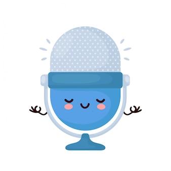 O microfone engraçado feliz bonito do podcast do estúdio medita. desenho animado personagem ilustração ícone do design.