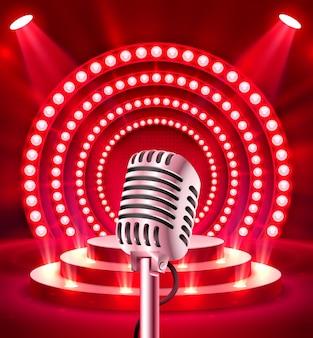 O microfone na cena vermelha. ilustração vetorial