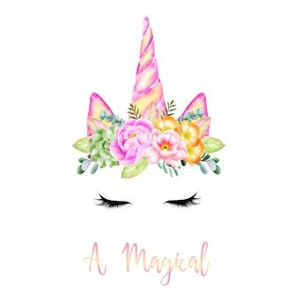 O milagre de um unicórnio com chifres de flores