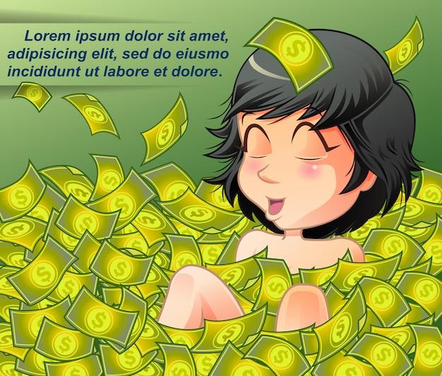 O milionário está imerso em uma lagoa de dinheiro.