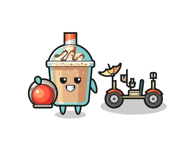 O milkshake fofo como astronauta com um rover lunar, design de estilo fofo para camiseta, adesivo, elemento de logotipo