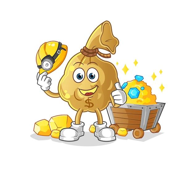 O mineiro do saco de dinheiro com mascote dourado