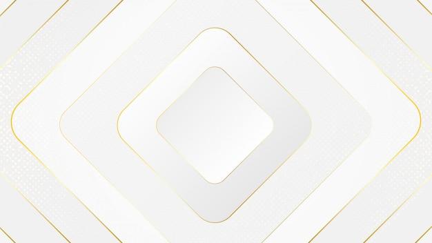 O mínimo criativo do branco luxuoso geométrico com formas dinâmicas abstrai o fundo.