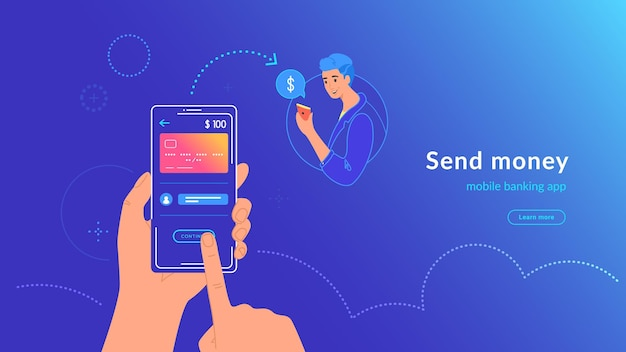 O mobile banking e o envio de dinheiro do cartão de crédito via aplicativo de carteira eletrônica de forma fácil e sem fio. ilustração em vetor brilhante de mão humana segura smartphone com cartão do banco para transferir dinheiro para um homem