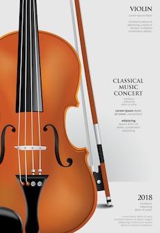 O modelo de cartaz de concerto de música clássica com violino