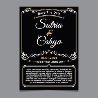 O modelo de convite de casamento com enfeite de tema clássico e cor pode ser alterado de tamanho conforme necessário