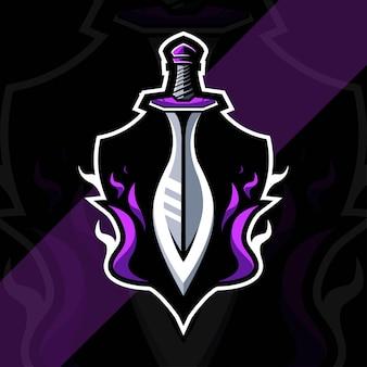 O modelo de design de esports do logotipo do mascote do rei da espada