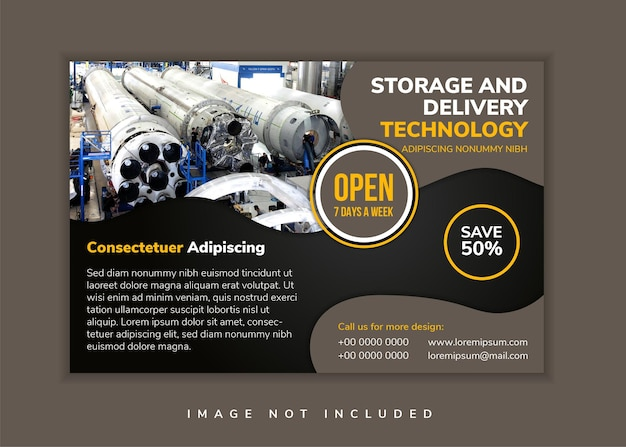 O modelo de design de panfleto de tecnologia de armazenamento e entrega usa plano de fundo preto de layout horizontal