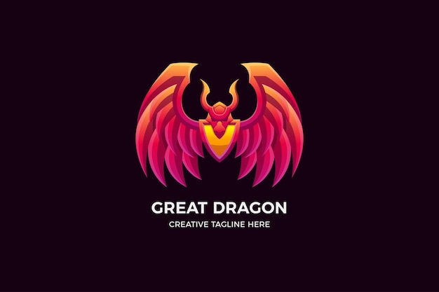 O modelo de logotipo 3d dragon gradient