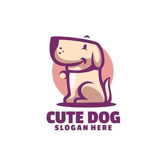 O modelo de logotipo de cachorro fofo é baseado em vetor