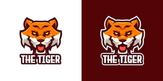 O modelo de logotipo do personagem the tiger mascot