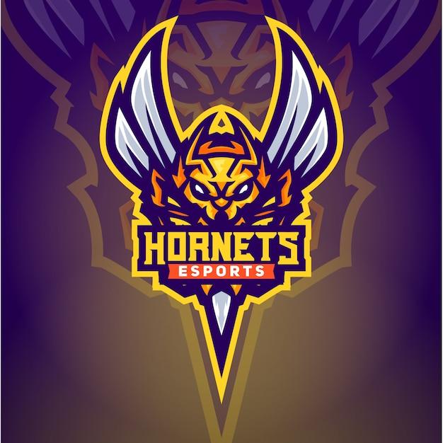 O modelo de logotipo esport de abelha hornet