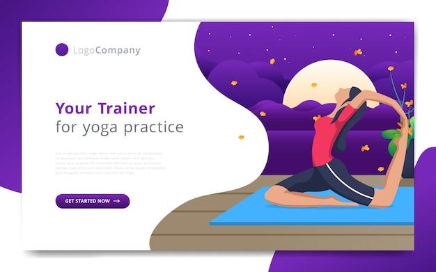 O modelo de página da web do instrutor de ioga se exercita no modelo de site de natureza aberta