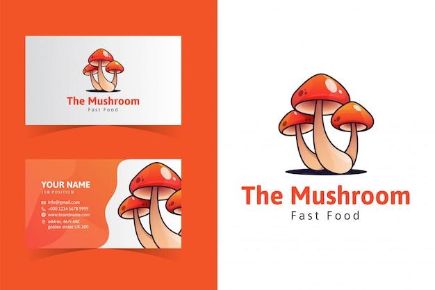 O modelo do cartão de nome de cogumelo