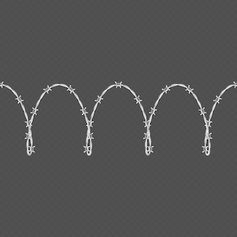 O modelo e os elementos sem emenda horizontal da beira do arame farpado do metal objetam.