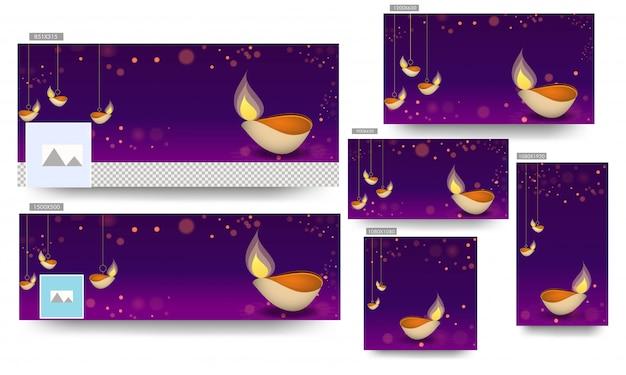 O modelo social da bandeira dos meios ajustou-se com suspensão da lâmpada de óleo iluminada (diya) decorada no fundo roxo do bokeh para a celebração feliz de diwali.