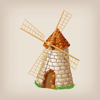 O moinho de vento velho tradicional que constrói a única cor do objeto pintou o conceito.