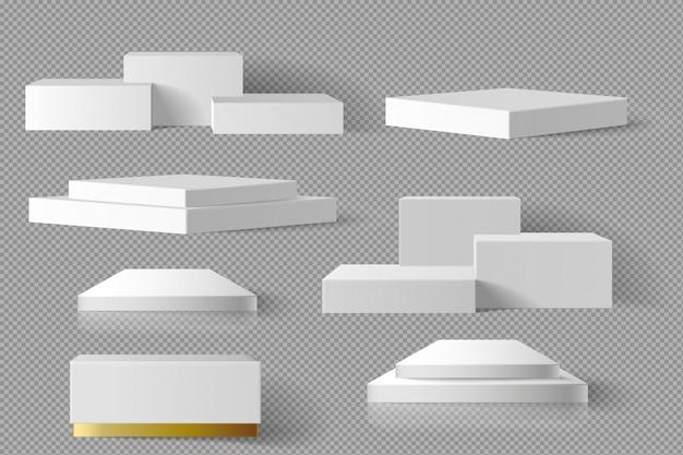 O molde do mármore do bloco quadrado da caixa vazia do branco e do ouro ajustou-se com fundo da sombra. conceito pódio palco vitrine 3d realista