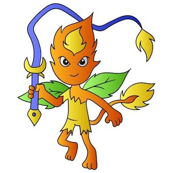 O monstro vermelho de fogo carregava um chicote poderoso, arte de ilustração vetorial. imagem de ícone do doodle kawaii.