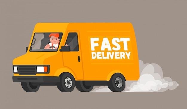 O motorista da van corre para entregar as mercadorias aos clientes e monta rapidamente