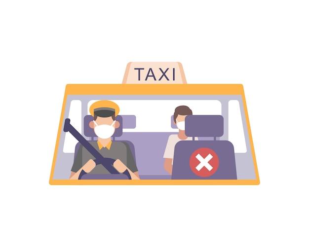 O motorista de táxi usa uma máscara facial e dirige seu táxi e pratica protocolos de saúde e segurança, esvaziando o banco da frente, distanciando-se da ilustração do passageiro