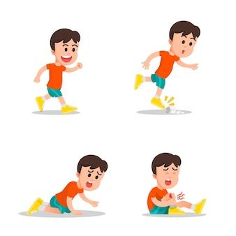 O movimento de um menino que estava correndo e depois caiu