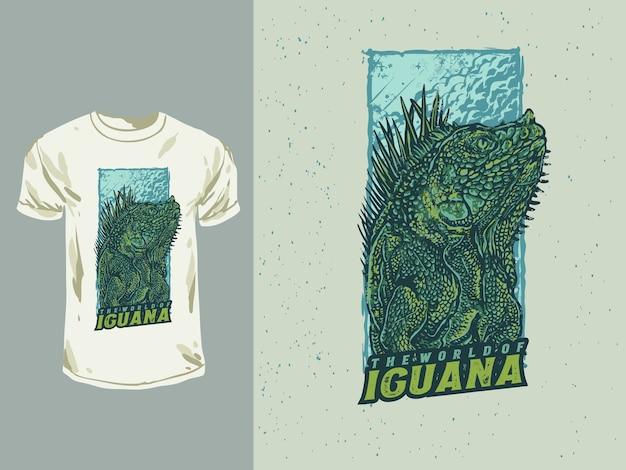 O mundo da ilustração de réptil de iguana desenhada à mão