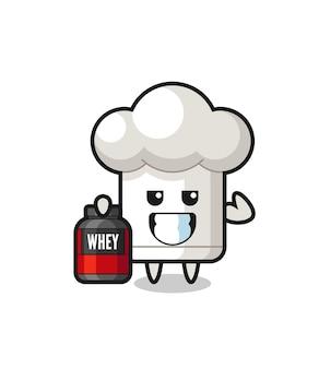 O musculoso personagem de chapéu de chef está segurando um suplemento de proteína, design de estilo fofo para camiseta, adesivo, elemento de logotipo