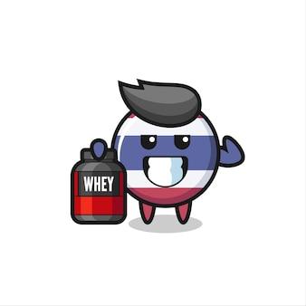 O musculoso personagem do distintivo da bandeira da tailândia está segurando um suplemento de proteína, design de estilo fofo para camiseta, adesivo, elemento de logotipo