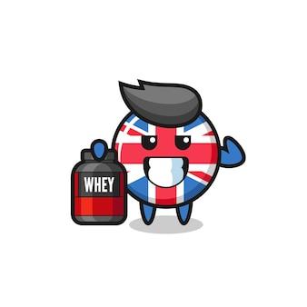 O musculoso personagem do distintivo da bandeira do reino unido está segurando um suplemento de proteína, design de estilo fofo para camiseta, adesivo, elemento de logotipo