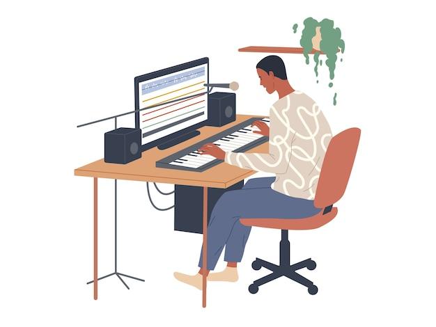 O músico toca piano digital e usa um editor de áudio para gravar em seu computador.