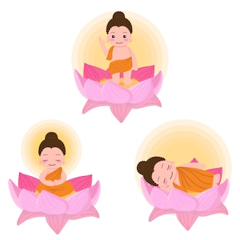 O nascimento de buda ilumina o nirvana no dia de vesak